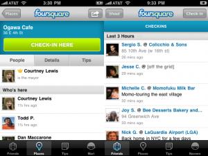 Foursquareを使うと、例えばiPhone上で今いる場所に「Check-in」(左画面)し、その情報を友人同士でシェア(右画面)することができる。